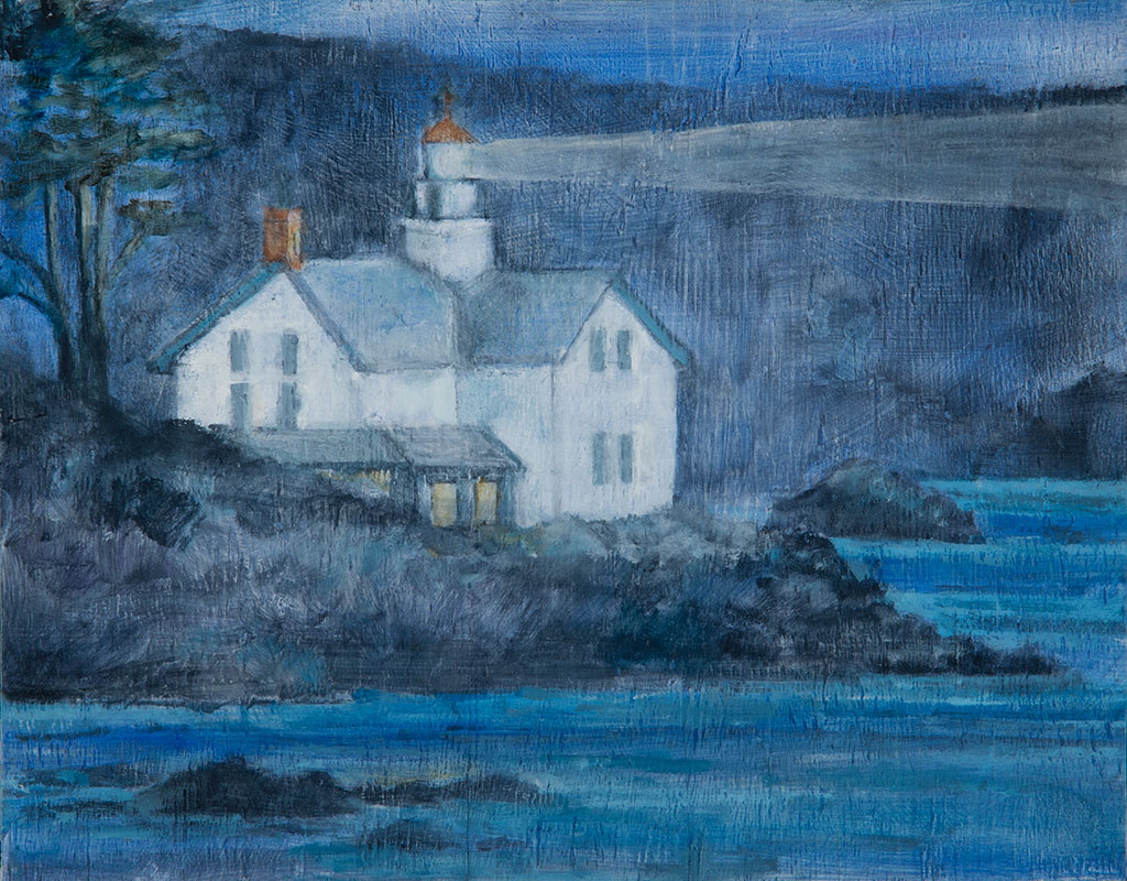 Lighthouse, (blue roof), oil on wood, 11