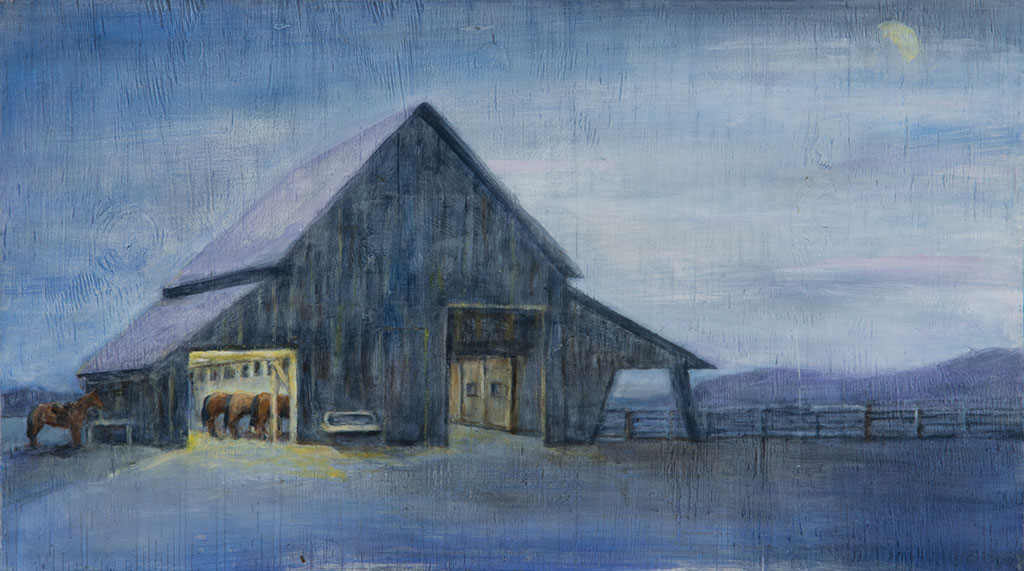 Barn at Night, oil on wood, 14