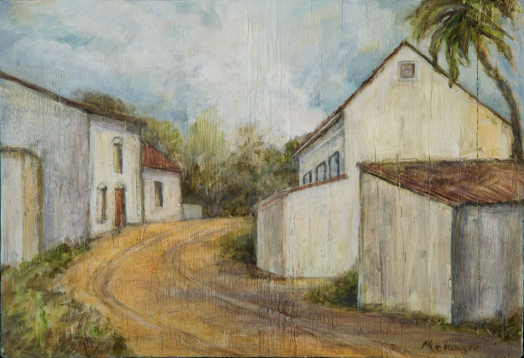 Village Street w/palm, oil on wood