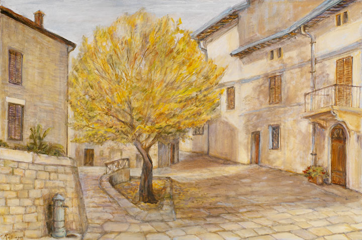 Street with yellow tree, oil on canvas. 24