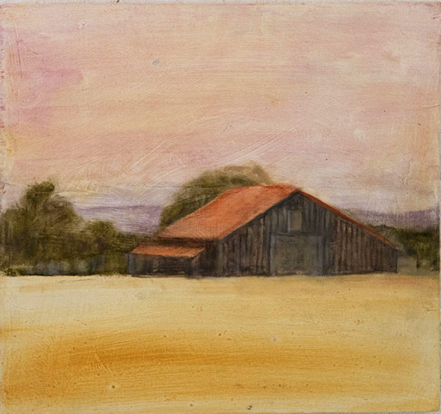 Barn at Dusk - 11 x 12, oil on wood