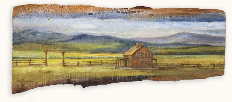 House on Prairie - 8 x 22, oil on reclaimed wood
