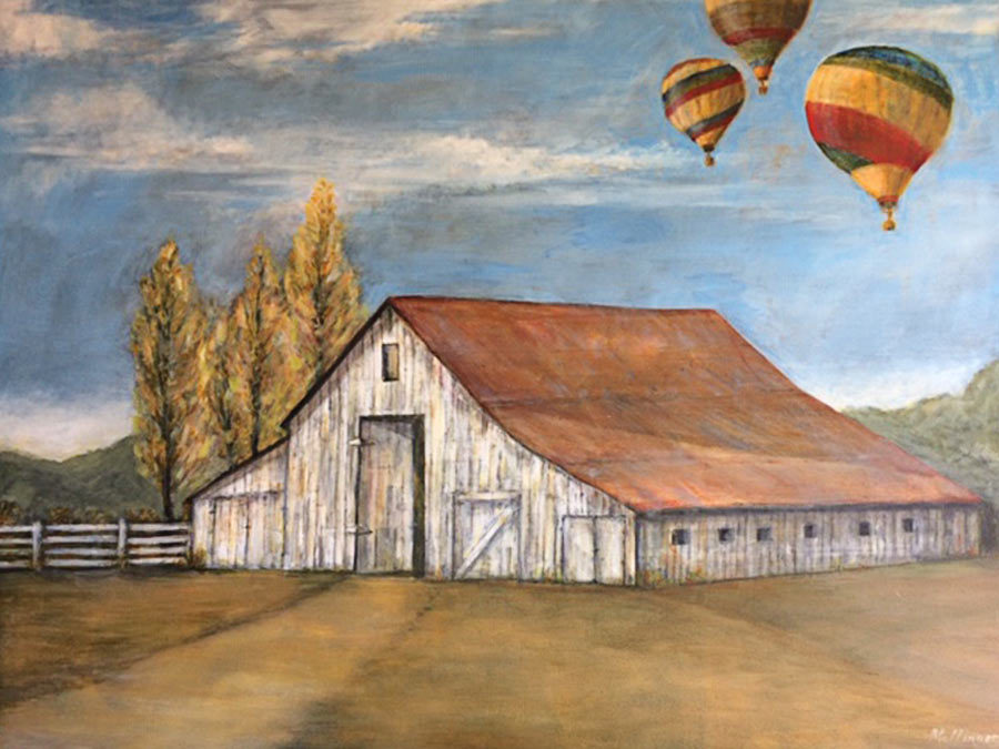 Barn with balloons, oil on canvas, 48