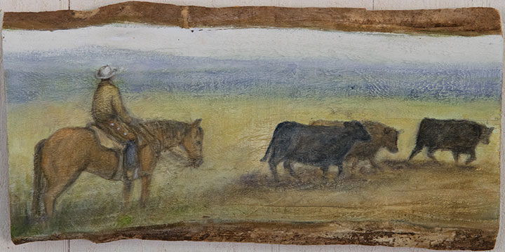 Cowboy With Cattle, oil on wood, 9