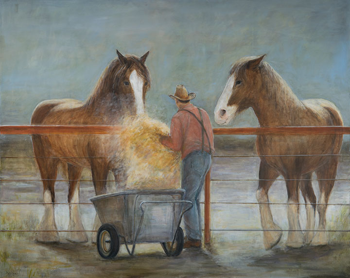 Feeding the Clydesdales, oil on canvas, 48