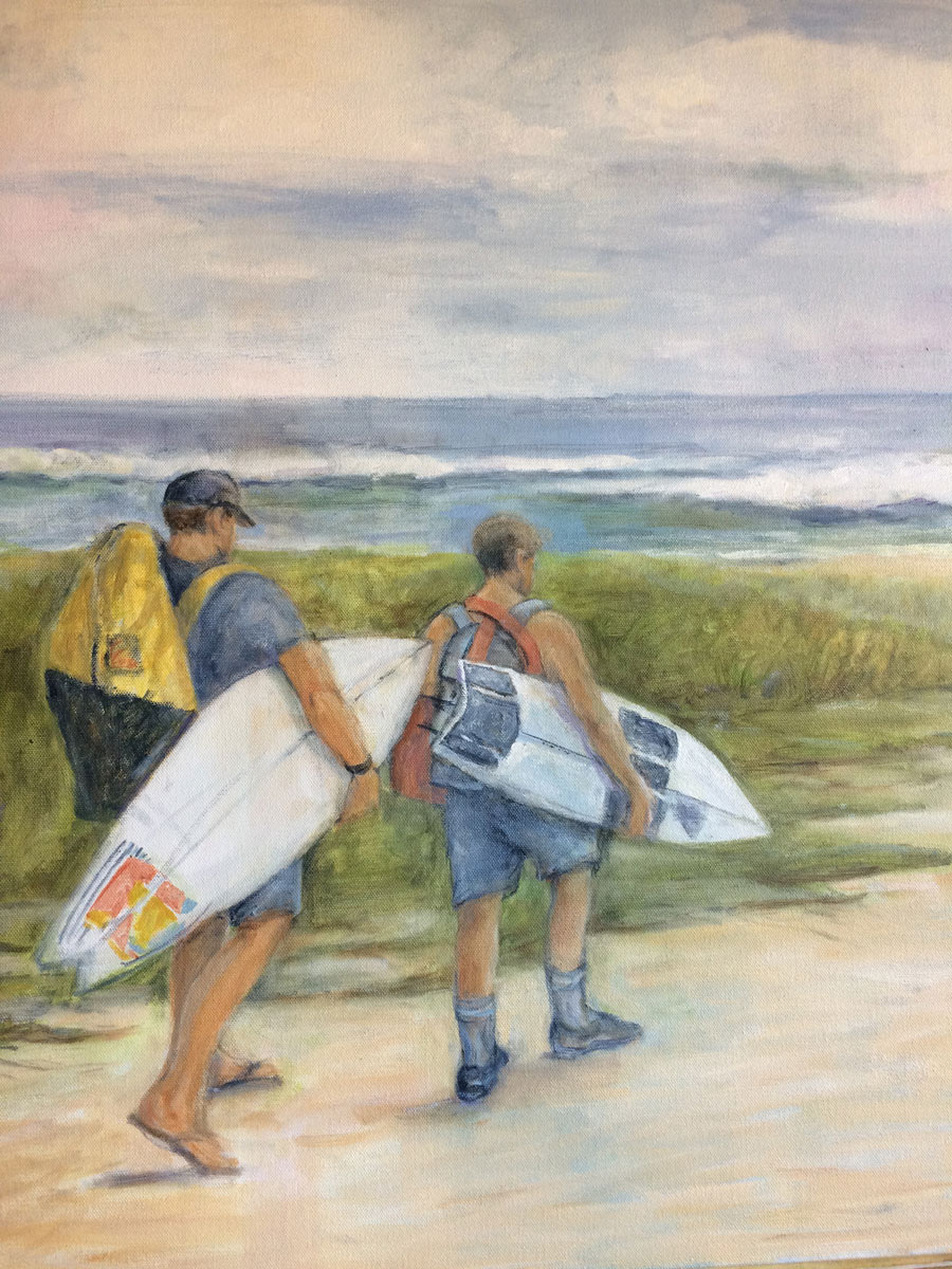 Surfers Walking to Beach