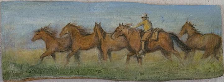 Horses Running, oil on wood, 6