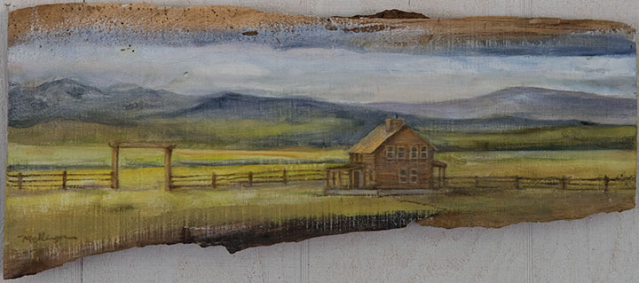 House On The Prarie, oil on wood, 10