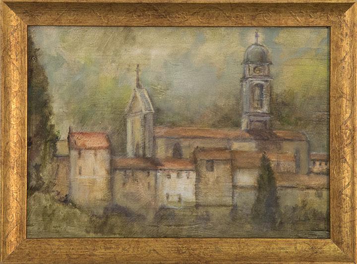 Italian Village, oil on wood, 8