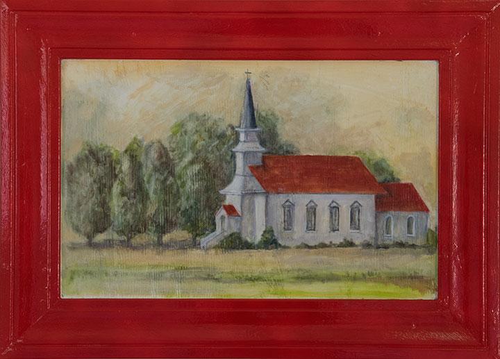 Nicasio Church, oil on canvas, 19