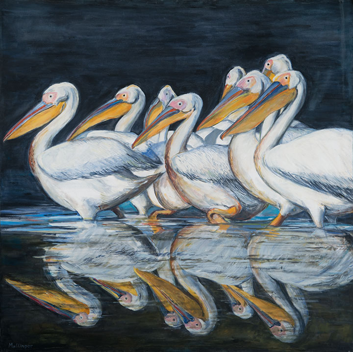 Pelicans in Reflection, oil on canvas, 48