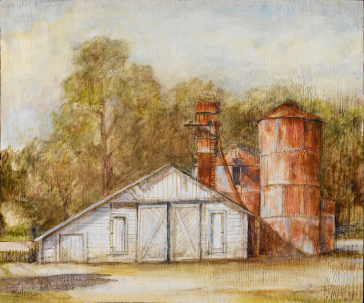 Barn With Silos*, oil on wood