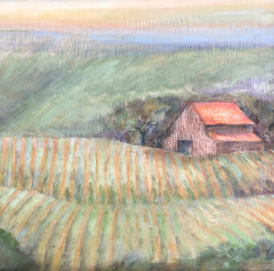 Sonoma Barn, oil on reclaimed wood
