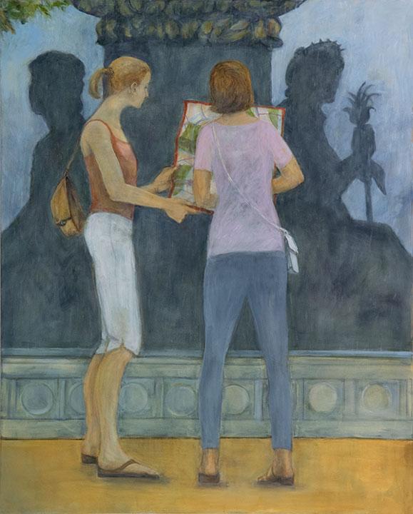 Tourists, oil on canvas, 48