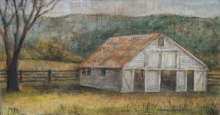 White Barn, oil on wood, 9
